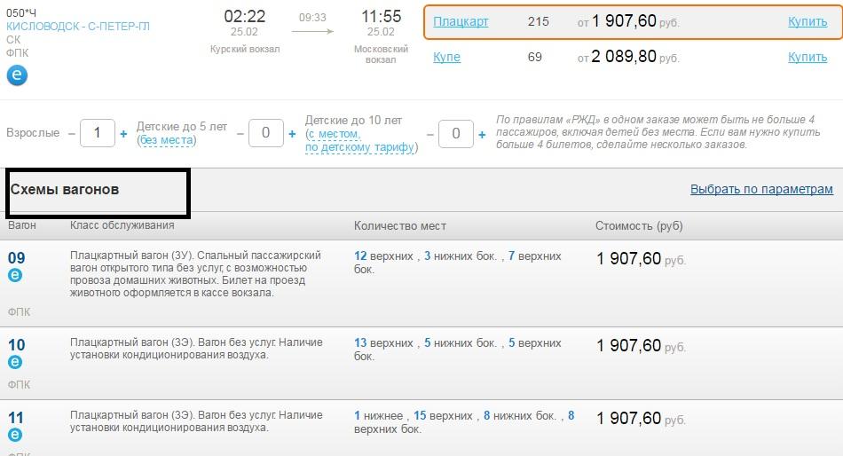 Стоимость жд билета и схема вагона на сайте Тикет РЖД