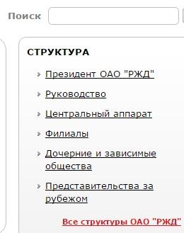 Структура компании РЖД на официальном сайте